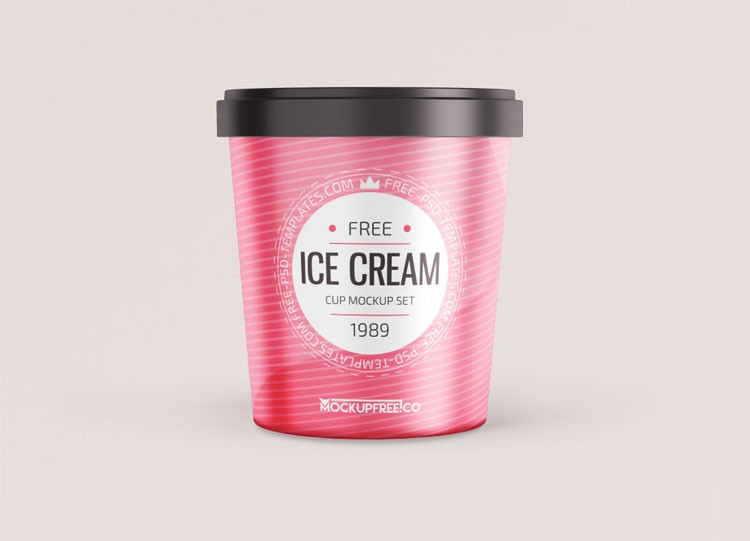 Ice Cream Round Box Free Mockup