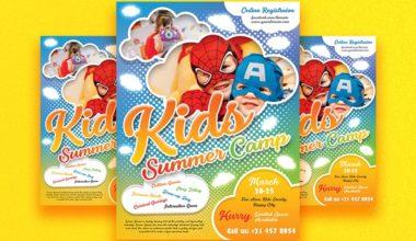 Kids Summer Camp PSD Freebie Flyer Template