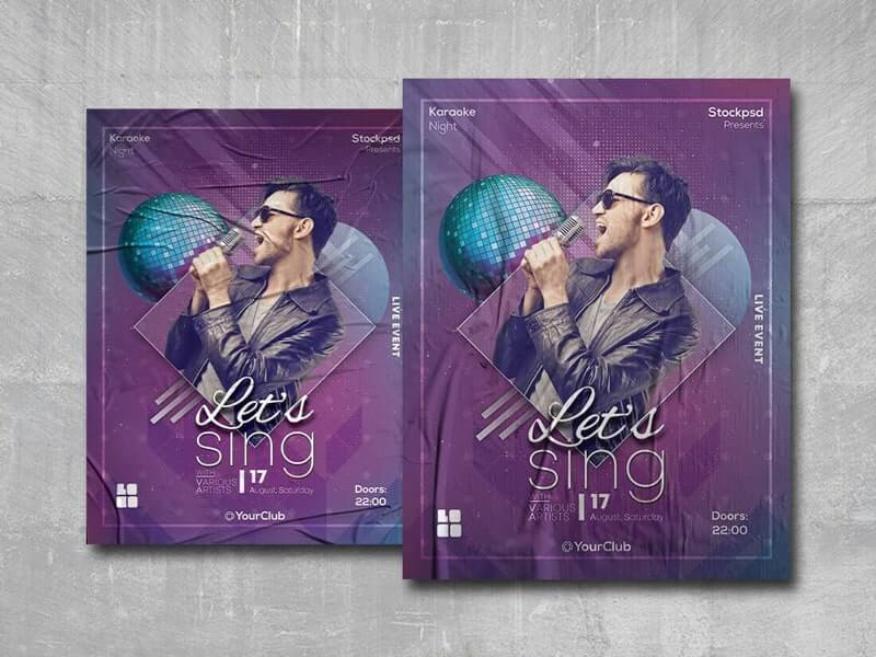 Let's Sing Free PSD Poster Template