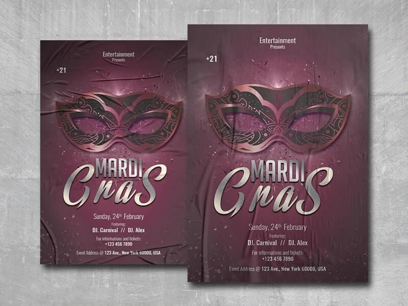 Mardi Gras Flyer Free PSD Template