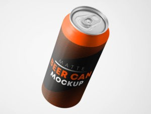 Matte Beer Can Free Mockup