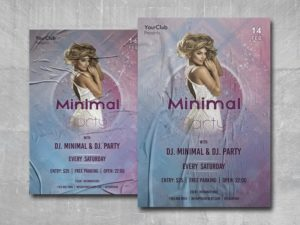 Minimal Party Club Free PSD Flyer Template