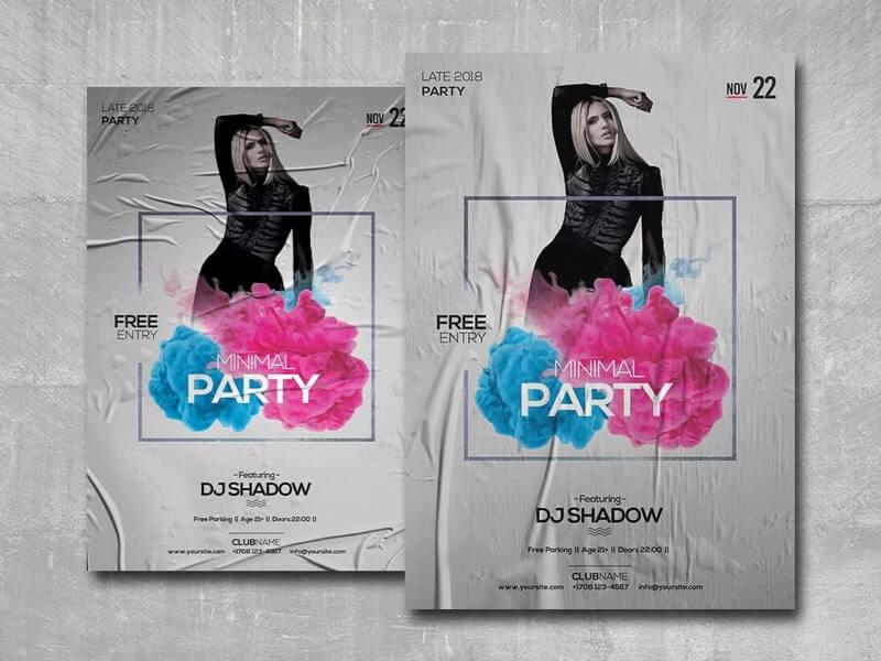 Minimal Party PSD Freebie Flyer Template