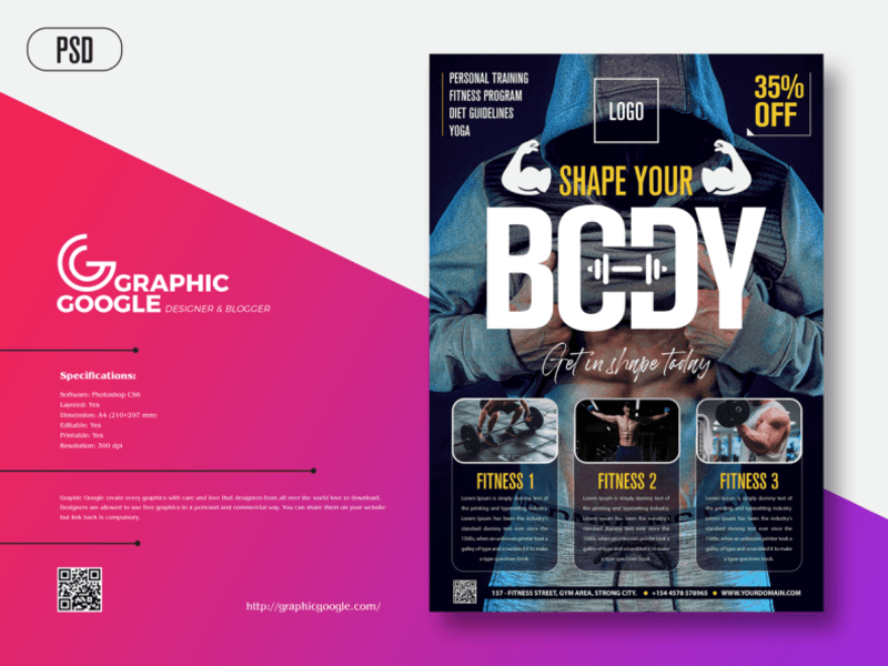 Modern Fitness Free PSD Flyer Template