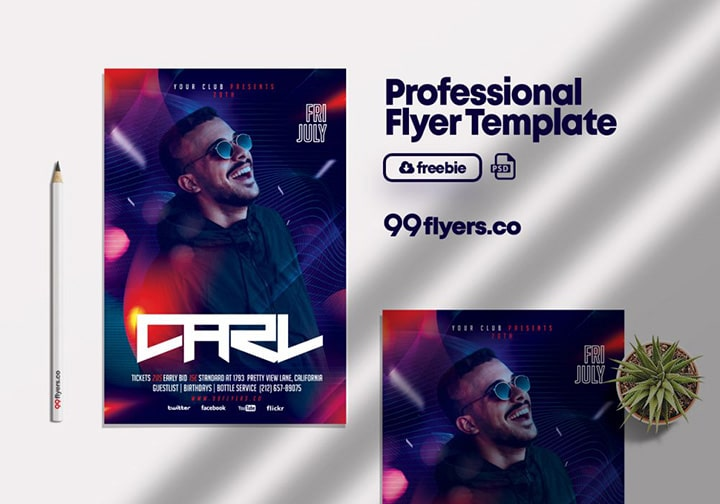 Night Club DJ Party Free PSD Flyer Template
