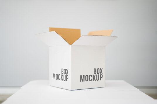 Open Square Box Free Mockup