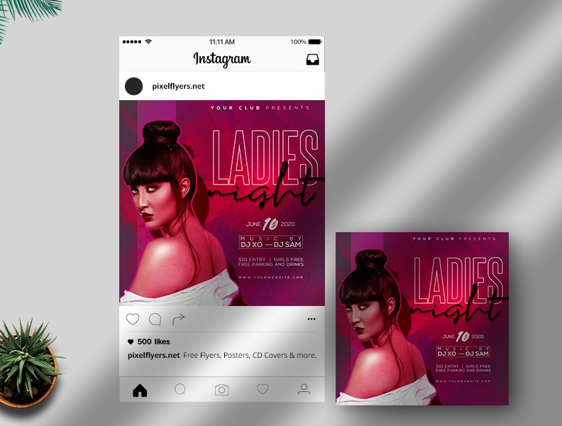 Party Night - Free Instagram PSD Template