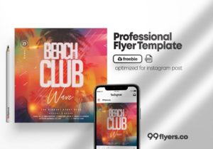 Party on Beach Free Summer PSD Flyer Template