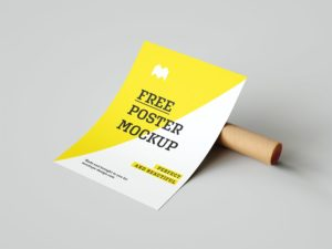 Poster with a Paper Tube Free Mockup