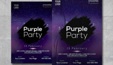 Purple Party Night Free PSD Flyer Template