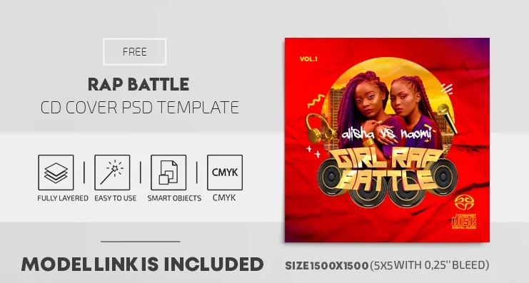Rap Battle Free CD Mixtape PSD Template