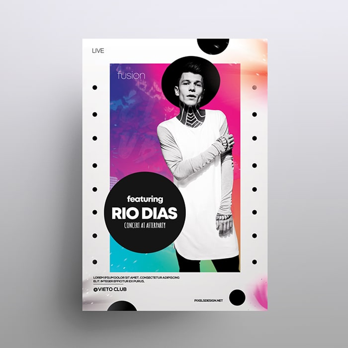 Rio - Abstract Colorful Free PSD Flyer Template