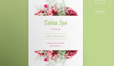 Spa Massage Flowered Free PSD Flyer Template