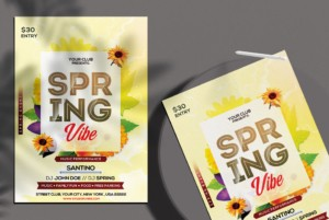 Spring Break Event Free PSD Flyer Template vol3
