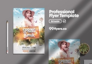 Spring Time Free Party PSD Flyer Template