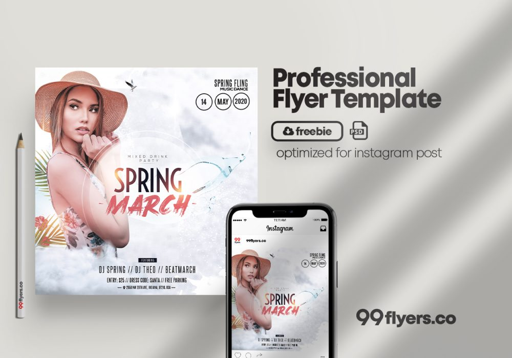 Spring Vibe - Party Free PSD Flyer Template
