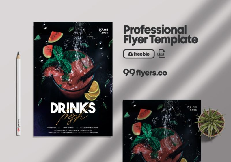Summer Drinks PSD Free Flyer Template vol2