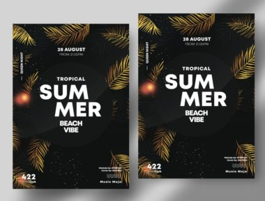 Summer Gold Leaves PSD Free Flyer Template