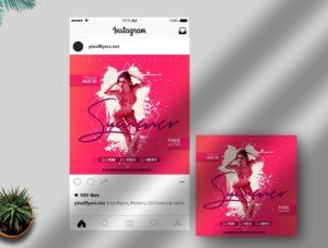 Summer Splash PSD Free Instagram Banner Template