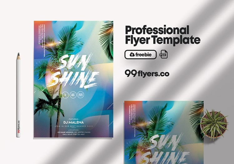 Summer in Color PSD Free Flyer Template
