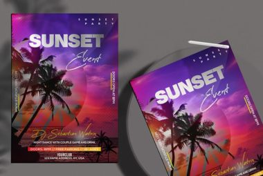 Sunset Party Free Summer PSD Flyer Template