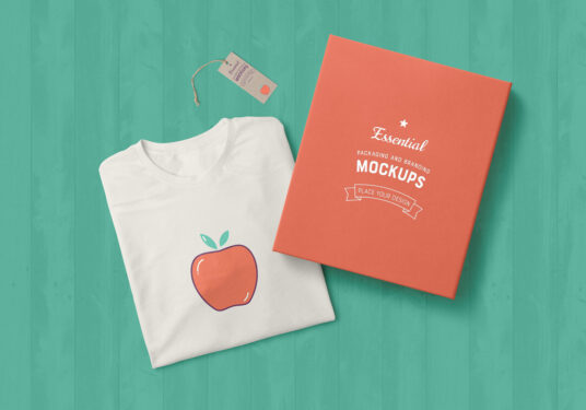 T-Shirt, Tag and Box Free Mockup