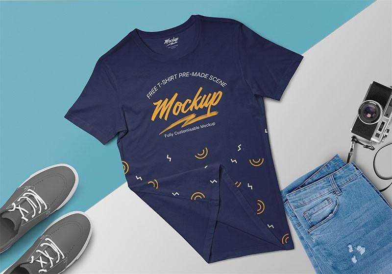 T-shirt Scene Free Mockup