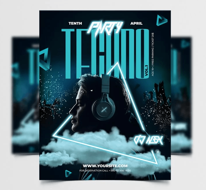 Techno Party Night Free PSD Flyer Template