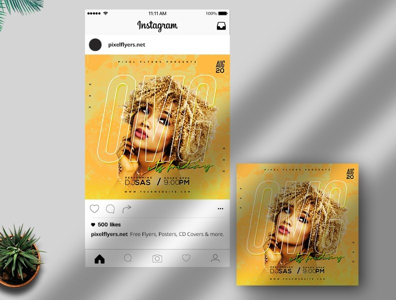 The Friday Vibes Free Instagram Post PSD Template