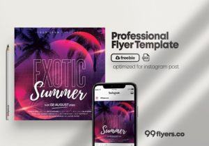 The Summer Night Party Free PSD Instagram Post Template