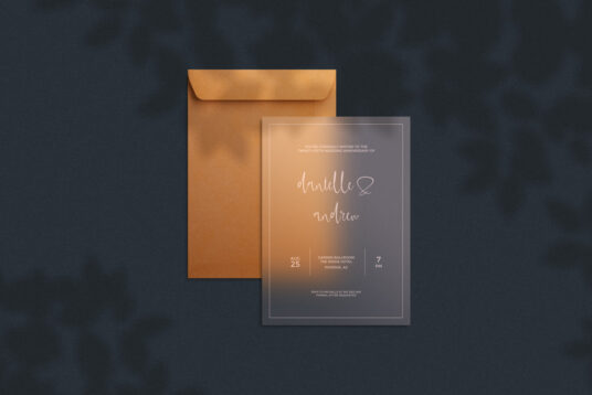 Translucent Invitation Card with Envelope Free Mockup