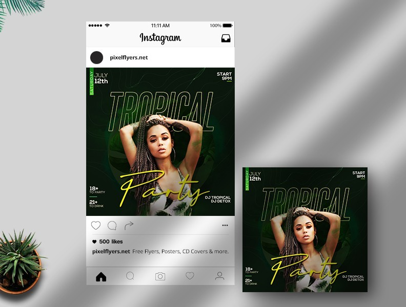 Tropical Day Free Instagram Post PSD Template