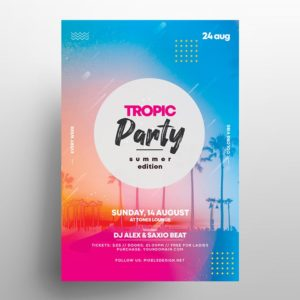 Tropical Vibe Party PSD Free Flyer Template