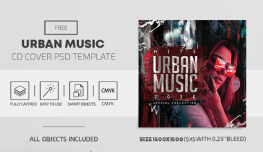 Urban Music Free CD Cover PSD Template