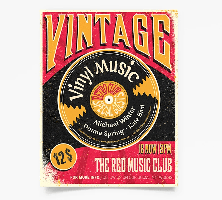 Vintage Music PSD Free Flyer Template