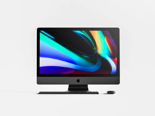 iMac Pro with Mouse and Keyboard Free Mockup