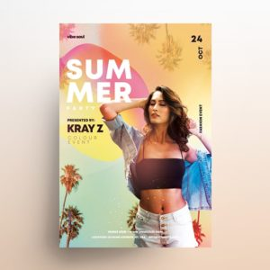 Vibe Summer Free Tropical PSD Flyer Template