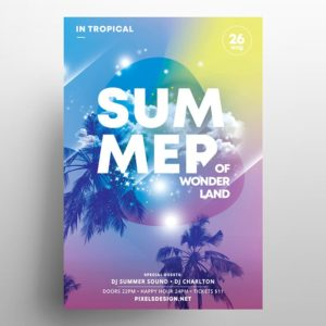 Summer Land Party Freebie PSD Flyer Template