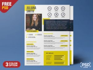 A4 Size Creative Resume Free PSD Template