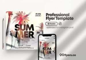 Beach Party Freebie Tropical PSD Flyer Template