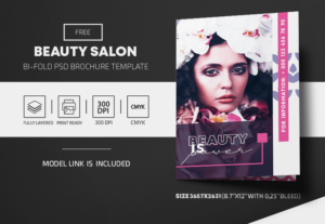 Beauty Salon Free Bi-Fold PSD Brochure