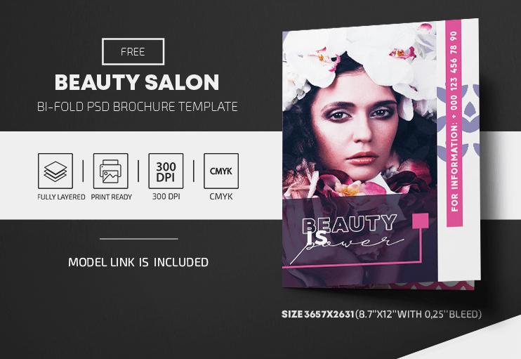 Beauty Salon Free Bi-Fold PSD Brochure