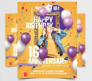 Birthday Party Freebie PSD Flyer Template