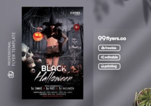 Black Halloween Party Free PSD Flyer Template