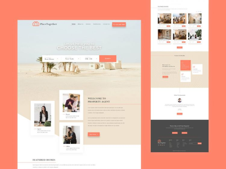 Booking & Real Estate Free Website XD Template