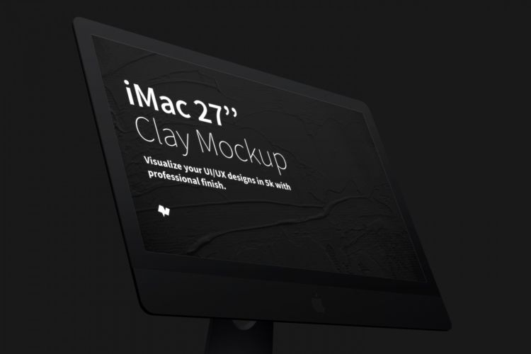 "Clay iMac 27"" Display Close Up Free Mockup"