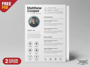 Clean & Professional Resume CV Free PSD Template