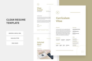 Clean Resume CV Free InDesign Template