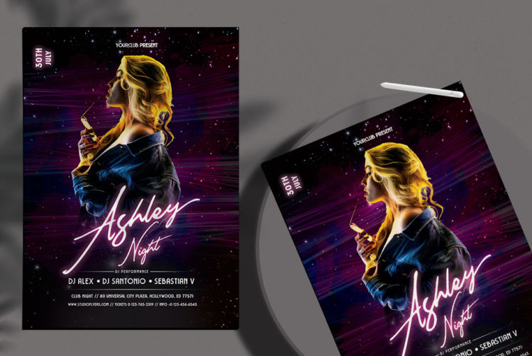 Clubnight Vibe Free DJ PSD Flyer Template