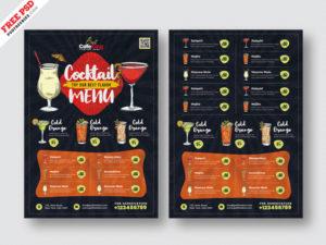 Cocktail Menu Price Free PSD Flyer